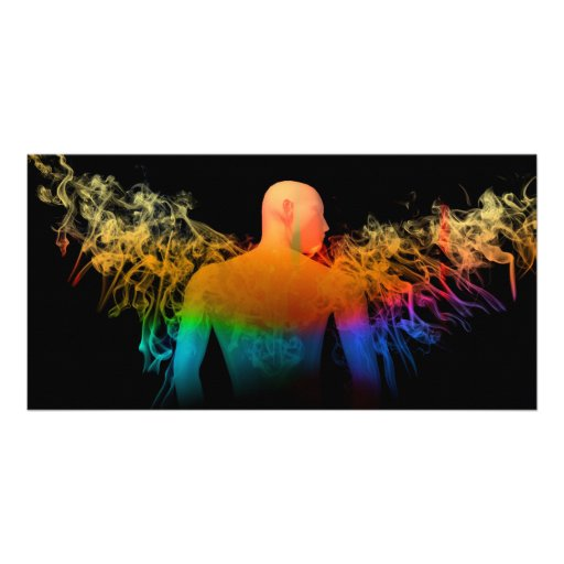 Angel with wings of colorful smoke custom photo card