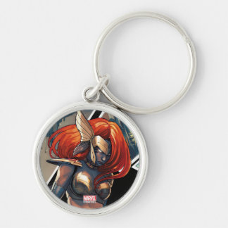 Angela Comic Montage Silver-Colored Round Keychain