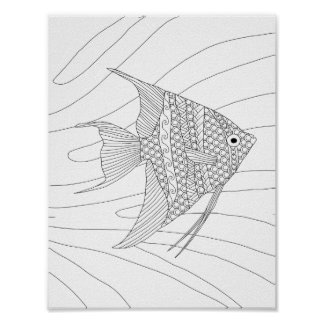 Angelfish Adult Coloring Poster
