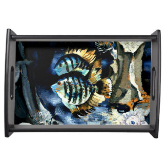 Angelfish, London Aquarium, vintage painting Serving Tray