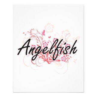 Angelfish with flowers background personalized flyer