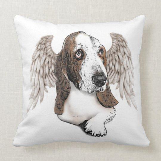Angelic Basset Hound Throw Pillow