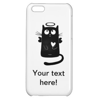 Angelic black cat cartoon cover for iPhone 5C