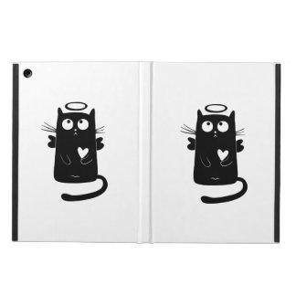 Angelic black cat cartoon iPad air covers