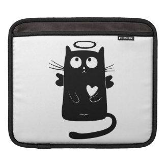 Angelic black cat cartoon iPad sleeve