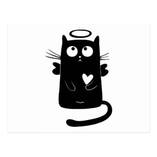 Angelic black cat cartoon postcard
