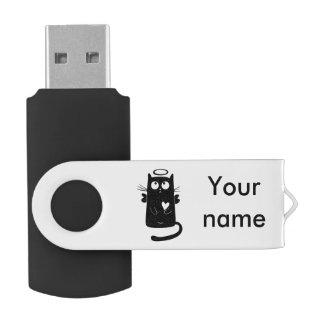 Angelic black cat cartoon swivel USB 2.0 flash drive