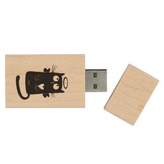Angelic black cat cartoon wood USB 2.0 flash drive