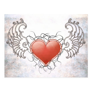 Angelic Crystal red heart Postcard