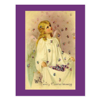 Angelic Easter Blessings With Violets Postcard