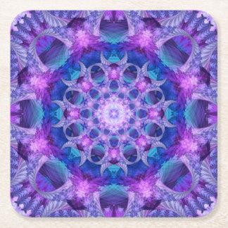 Angelic Gateway Mandala Square Paper Coaster