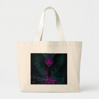 Angelic Guardian Purple and Teal Large Tote Bag