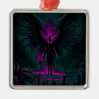 Angelic Guardian Purple and Teal Metal Ornament