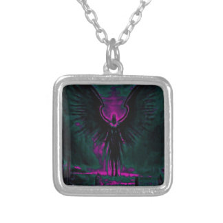 Angelic Guardian Purple and Teal Silver Plated Necklace