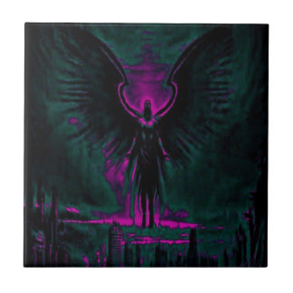 Angelic Guardian Purple and Teal Tile