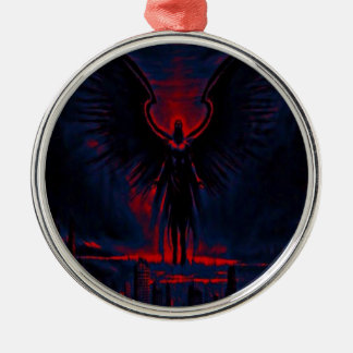Angelic Guardian Red and Blue Metal Ornament