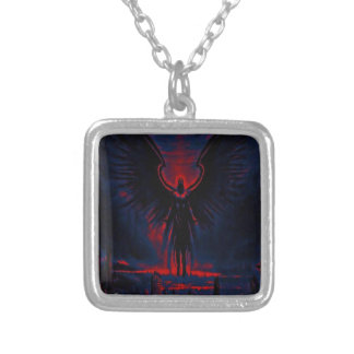 Angelic Guardian Red and Blue Silver Plated Necklace