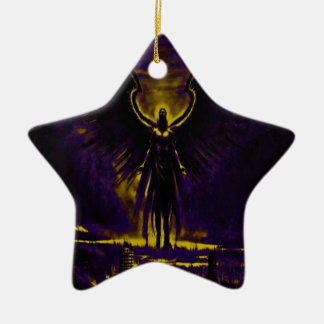 Angelic Guardian Yellow and Purple Ceramic Ornament