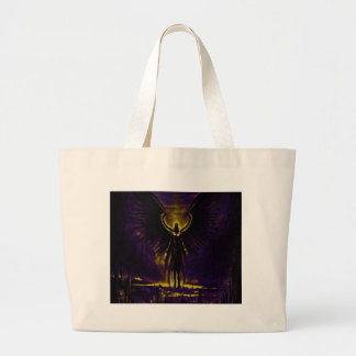 Angelic Guardian Yellow and Purple Large Tote Bag