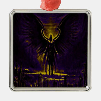 Angelic Guardian Yellow and Purple Metal Ornament