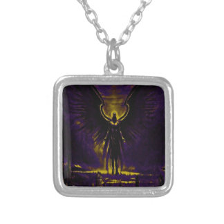 Angelic Guardian Yellow and Purple Silver Plated Necklace