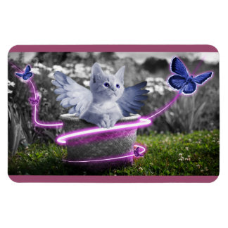 Angelic Kitten with Wings and Butterflies Magnet