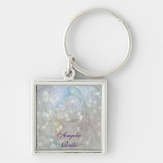 Angelic Reiki Silver-Colored Square Keychain