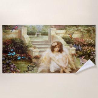Angelic Serenity Garden Beach Towel