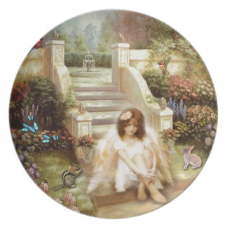 Angelic Serenity Garden Melamine Plate