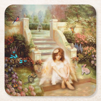 Angelic Serenity Garden Pulp Board Drink Coaster