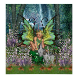 Angelica - Fairy Art With Woodland Fairy-Rocking H Poster