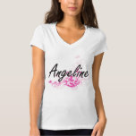 Angeline Artistic Name Design with Flowers T Shirts