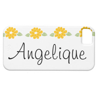 Angelique Name Yellow Flowers Case For The iPhone 5