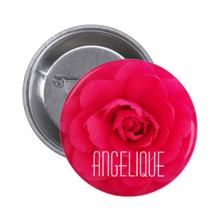 Angelique on a Pink Camellia 2 Inch Round Button