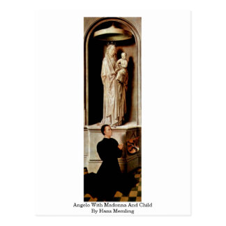 Angelo With Madonna And Child By Hans Memling Postcard