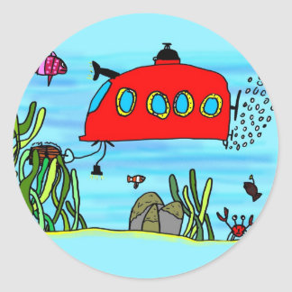 Angelos underwater treasure search classic round sticker
