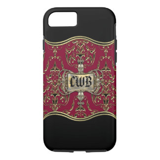 AngelRhyse Crimsong VII Elegant Damask Monogram iPhone 7 Case