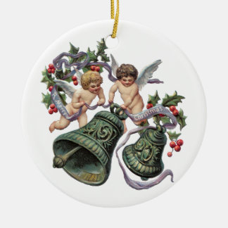 Angels and Bells Double-Sided Ceramic Round Christmas Ornament