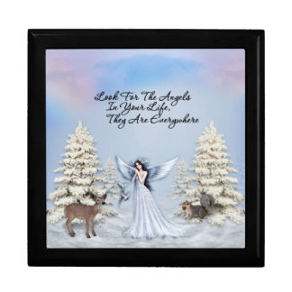 Angels Are Everwhere Winter Scene Gift Box
