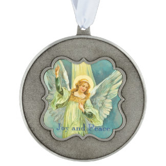Angels Came Down at Christmas Scalloped Pewter Christmas Ornament