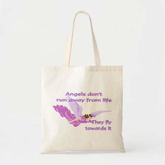 Angels don't run away from life tote bag