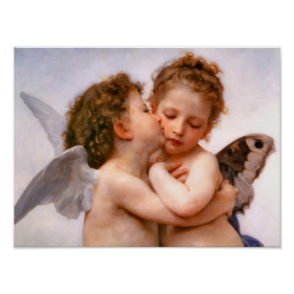 Angels First Kiss, Bouguereau Fine Art Poster