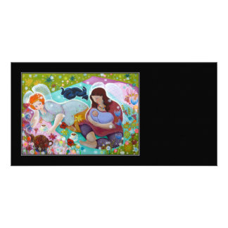 Angels Having A Cup Of Tea On Black Personalized Photo Card