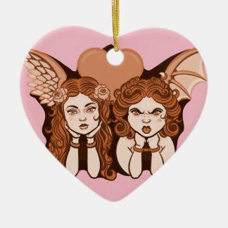 Angels Heart Mood Pendant Ceramic Ornament