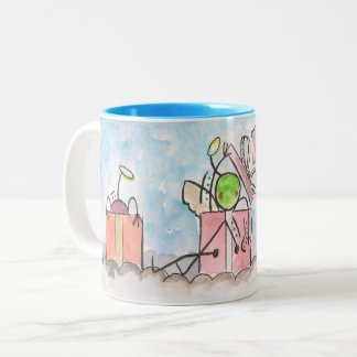 Angels in a box Two-Tone coffee mug