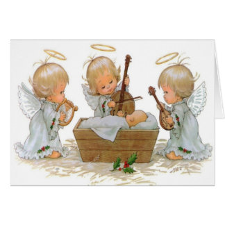 Angels in the Manger Card