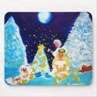 Angels in the Moonlit Forest Designer Art Mouse Pad