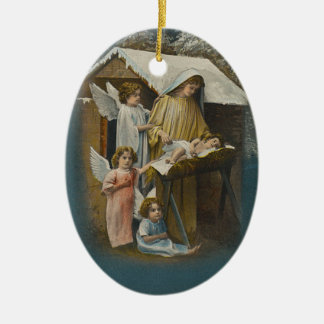 Angels, Madonna and Baby Jesus Christmas Ornament