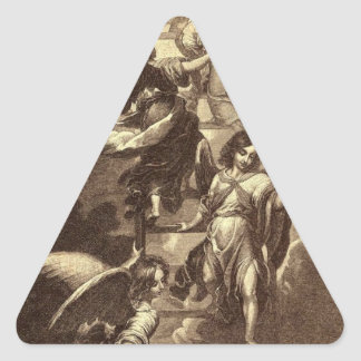 Angels On A Celestial Ladder Triangle Sticker