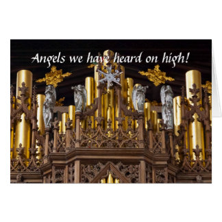 Angels on Chester organ Christmas card
